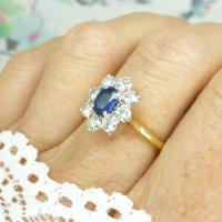 Vintage 18ct Sapphire & Diamond Oval Cluster Engagement Ring ~ with Independent Valuation (8 of 10)