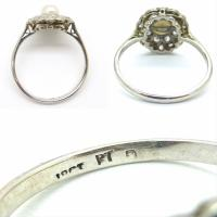 1920s Art Deco 18ct White Gold Platinum Old Cut Diamond & Pearl Cluster Ring (9 of 10)