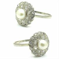 1920s Art Deco 18ct White Gold Platinum Old Cut Diamond & Pearl Cluster Ring (4 of 10)