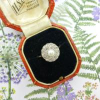 1920s Art Deco 18ct White Gold Platinum Old Cut Diamond & Pearl Cluster Ring (5 of 10)
