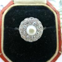 1920s Art Deco 18ct White Gold Platinum Old Cut Diamond & Pearl Cluster Ring (8 of 10)