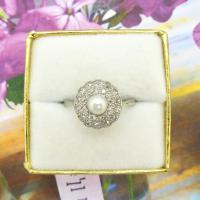 1920s Art Deco 18ct White Gold Platinum Old Cut Diamond & Pearl Cluster Ring (10 of 10)