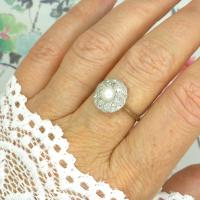 1920s Art Deco 18ct White Gold Platinum Old Cut Diamond & Pearl Cluster Ring (3 of 10)