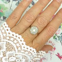 1920s Art Deco 18ct White Gold Platinum Old Cut Diamond & Pearl Cluster Ring (2 of 10)