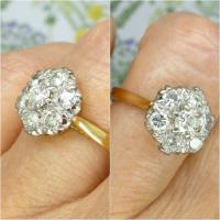 Vintage 18ct Gold Diamond Cluster Engagement Ring 0.95 Carats (5 of 10)