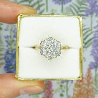 Vintage 18ct Gold Diamond Cluster Engagement Ring 0.95 Carats (10 of 10)