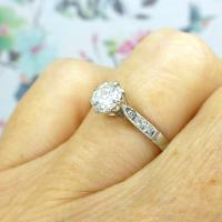 Art Deco 18ct White Gold & Platinum Old European Cut Diamond Solitaire Engagement Ring ~ with Independent Report (5 of 11)