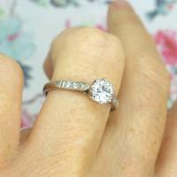 Art Deco 18ct White Gold & Platinum Old European Cut Diamond Solitaire Engagement Ring ~ with Independent Report (6 of 11)
