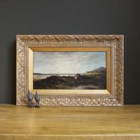 Samuel Bough Rsa, Shore Scene with a Shrimp Fisherman, Antique Oil Painting, Coast, Scotland