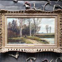 Abraham Hulk Junior, Autumn in Suffolk, Antique English Landscape Oil Painting
