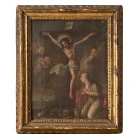 18th Century Crucifixion with the Virgin Mary & Cherubs