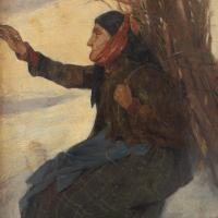 Adolf Meissner, Woodcutter in the Snow, 19th Century Oil Painting (12 of 12)