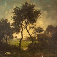 Jules-Louis Dusaussay, Barbizon School Landscape with Cottages, Chickens & Figure, 19th Century Oil Painting (3 of 12)