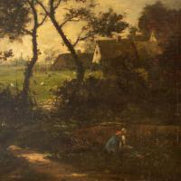 Jules-Louis Dusaussay, Barbizon School Landscape with Cottages, Chickens & Figure, 19th Century Oil Painting (4 of 12)