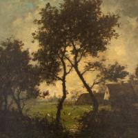 Jules-Louis Dusaussay, Barbizon School Landscape with Cottages, Chickens & Figure, 19th Century Oil Painting (5 of 12)