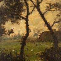 Jules-Louis Dusaussay, Barbizon School Landscape with Cottages, Chickens & Figure, 19th Century Oil Painting (7 of 12)