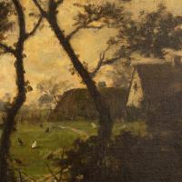 Jules-Louis Dusaussay, Barbizon School Landscape with Cottages, Chickens & Figure, 19th Century Oil Painting (9 of 12)