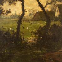 Jules-Louis Dusaussay, Barbizon School Landscape with Cottages, Chickens & Figure, 19th Century Oil Painting (10 of 12)