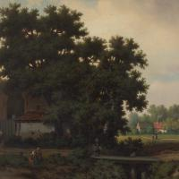 Pierre Vervou, Bucolic Landscape with Stream & Villagers, Oil Painting (4 of 13)