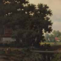 Pierre Vervou, Bucolic Landscape with Stream & Villagers, Oil Painting (5 of 13)
