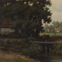 Pierre Vervou, Bucolic Landscape with Stream & Villagers, Oil Painting (6 of 13)
