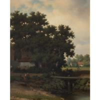 Pierre Vervou, Bucolic Landscape with Stream & Villagers, Oil Painting (3 of 13)