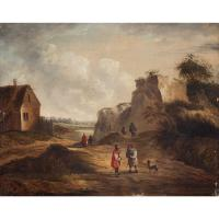 19th Century Dutch School Landscape with Villagers, Oil Painting (2 of 13)