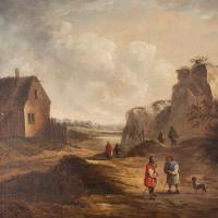 19th Century Dutch School Landscape with Villagers, Oil Painting (4 of 13)