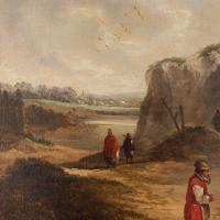 19th Century Dutch School Landscape with Villagers, Oil Painting (6 of 13)