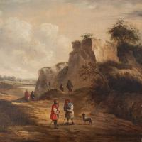 19th Century Dutch School Landscape with Villagers, Oil Painting (5 of 13)