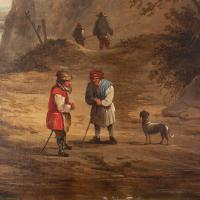19th Century Dutch School Landscape with Villagers, Oil Painting (8 of 13)