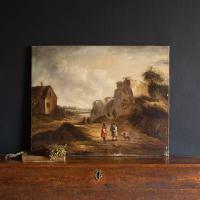 19th Century Dutch School Landscape with Villagers, Oil Painting (3 of 13)