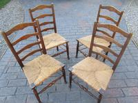 Set of Four Rush Seated Ladder Back Chairs