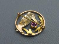 9ct 3 Colour Gold, Pink Tourmaline Set Kingfisher Brooch (4 of 5)