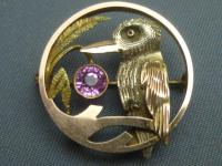 9ct 3 Colour Gold, Pink Tourmaline Set Kingfisher Brooch (2 of 5)
