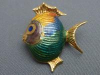 18ct Gold & Enamel Fish Brooch