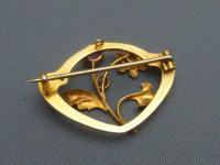 Art Nouveau 9ct Gold & Pink Tourmaline Brooch (3 of 5)