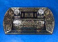 Spectacular Brass Inlaid Ebony Inkstand