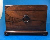 Brazilian Rosewood Twin Canisters & Twin Mixing Mixing Bowl Tea Caddy c.1830 (9 of 19)