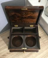 Brazilian Rosewood Twin Canisters & Twin Mixing Mixing Bowl Tea Caddy c.1830 (19 of 19)