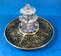 Early Victorian Brass Inlaid Ebony Ink Stand with Cut Glass Ink Well (2 of 19)