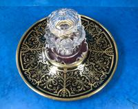 Early Victorian Brass Inlaid Ebony Ink Stand with Cut Glass Ink Well (8 of 19)