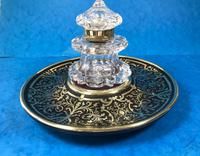 Early Victorian Brass Inlaid Ebony Ink Stand with Cut Glass Ink Well (6 of 19)