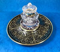 Early Victorian Brass Inlaid Ebony Ink Stand with Cut Glass Ink Well (4 of 19)