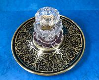 Early Victorian Brass Inlaid Ebony Ink Stand with Cut Glass Ink Well (7 of 19)