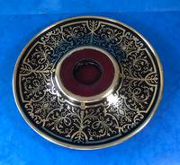 Early Victorian Brass Inlaid Ebony Ink Stand with Cut Glass Ink Well (16 of 19)