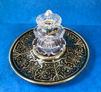 Early Victorian Brass Inlaid Ebony Ink Stand with Cut Glass Ink Well (5 of 19)