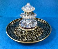 Early Victorian Brass Inlaid Ebony Ink Stand with Cut Glass Ink Well (3 of 19)