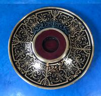 Early Victorian Brass Inlaid Ebony Ink Stand with Cut Glass Ink Well (15 of 19)