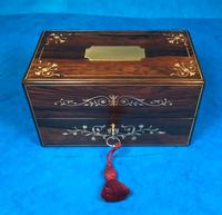 French Victorian Brass Inlaid Rosewood Ink Box (2 of 15)